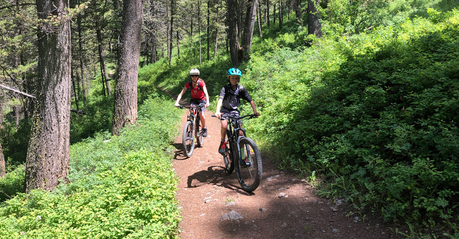 Family mountain bike ride - climbing Ferrin's trail in Jackson, WY
