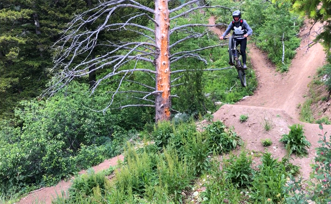 Wyatt sends the big gap jump on the Teton Pass trails in Wyoming