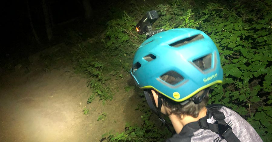 This helmet holds a GoPro, or Bontrager ION light with easse