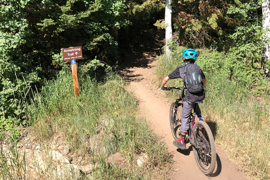 Climbing the Armstrong trail in Park City, Utah