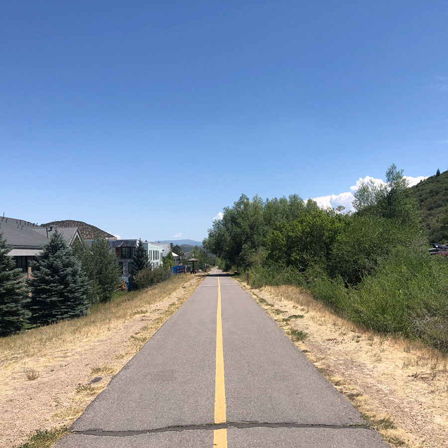 Looking east from where you can start on Park City's Rail Trail