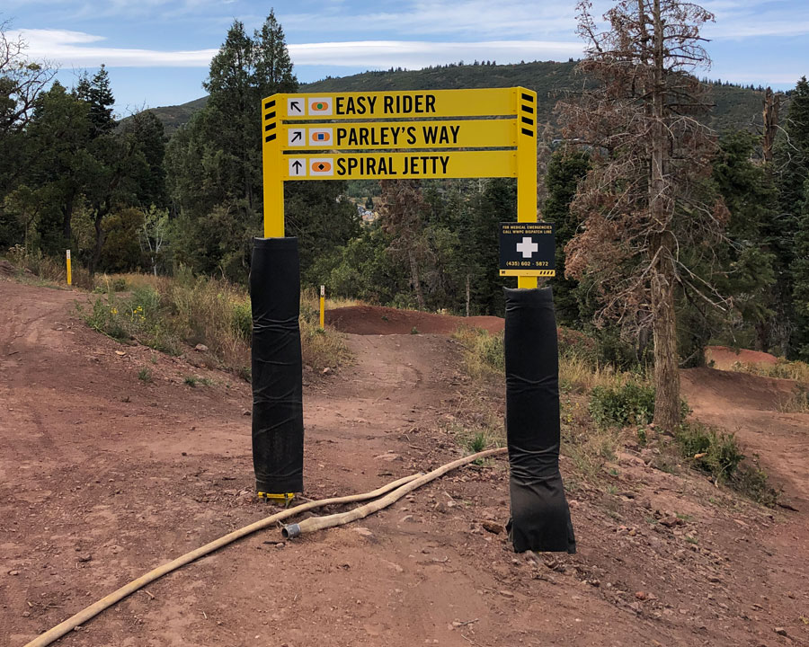Mountain bike trail signage at Woodward Park City