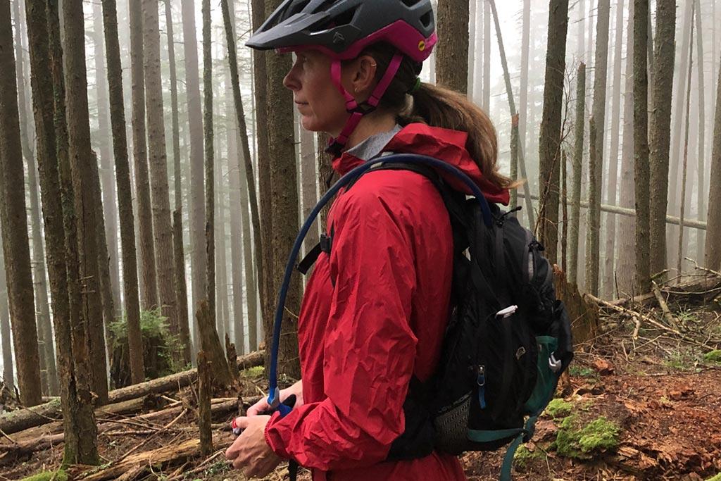 Hydration pack on the Bontrager Avert Women's Rain Jacket