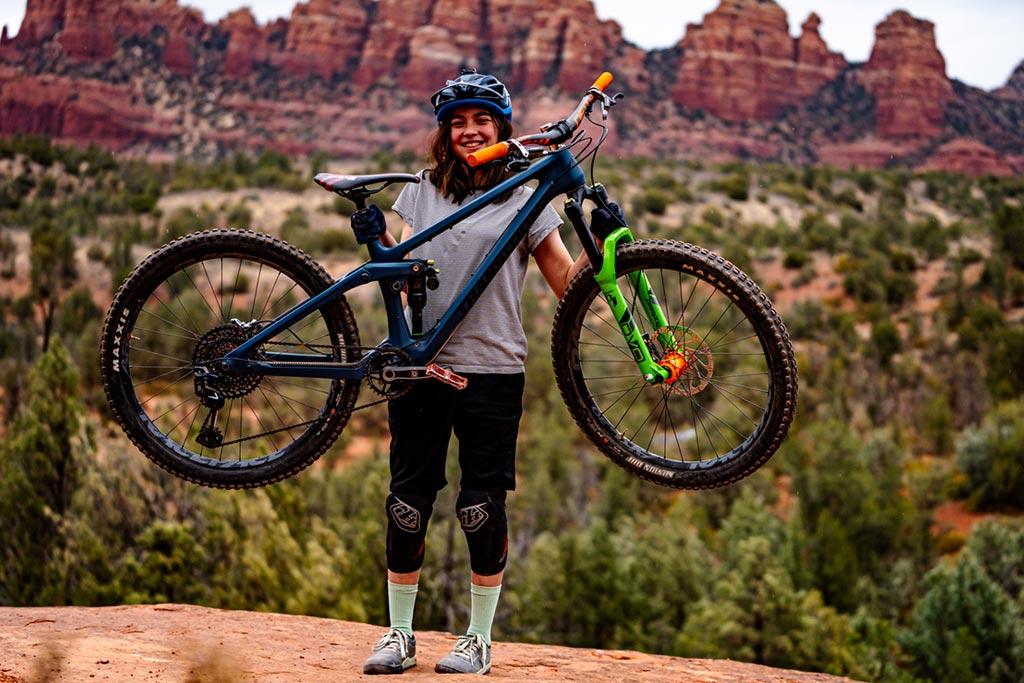 Mountain biker Teagan Heap shows off her Transition Scout