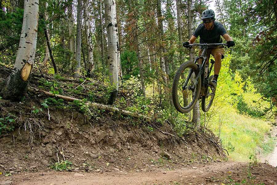 Pro freeskier Tim McChesney mountain biking