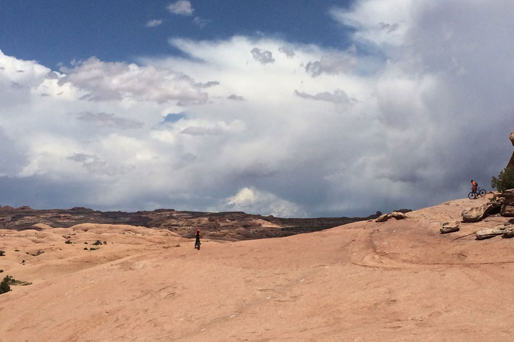 Landscapes are big while mountain biking in Moab, Utah